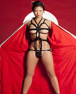 busty japanes nude model hiromi oshima is playboy playmate 2004 red geisha outfit
