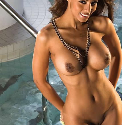 ebony nude model and playboy playmate ide ljungqvist wet in the pool